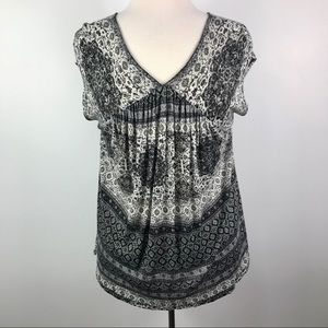 Lucky Brand NWT V neck boho print sleeveless top